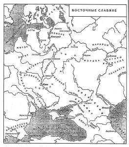 Карта 1: Восточные славяне и Хазарский каганат VII-IX вв.