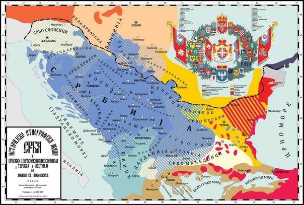 Карта сербских земель по Милошу С. Милоевичу