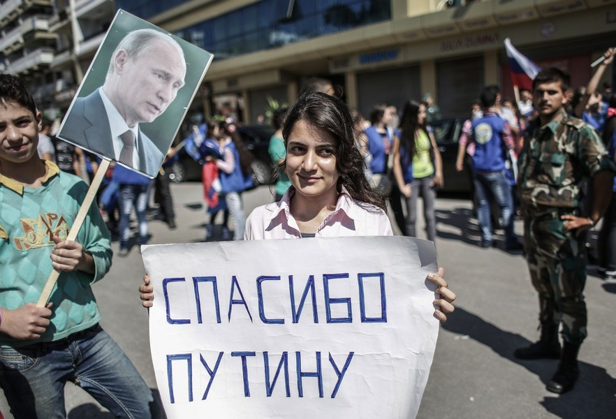 Rally to support Bashar al-Assad and Vladimir Putin in Latakia