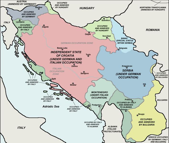 Раздел территории Югославии странами оси