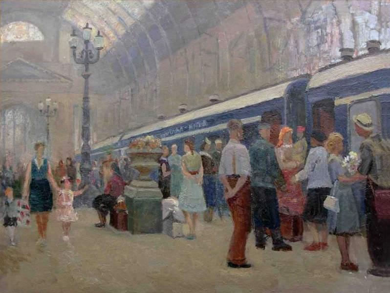 Пётр Плахотный (1908-1963): НА ПЕРРОНЕ КАЗАНСКОГО ВОКЗАЛА, картон, масло, 66х33 см, 1959 г.