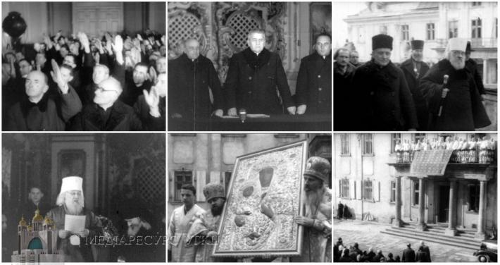 Львовский Собор 8-10 марта 1946 г, типично бритые униатские священники, голосуют за присоединение к РПЦ