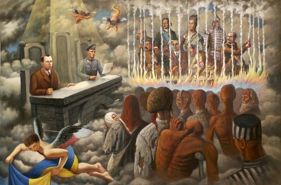 В религиозной космогонии националистов УГКЦ Бандера судья-бог. Цвет крыльев ангела – цвета флага «Правого сектора»