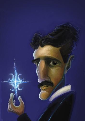 Никола Тесла. Карикатура Бориса Стаевского.