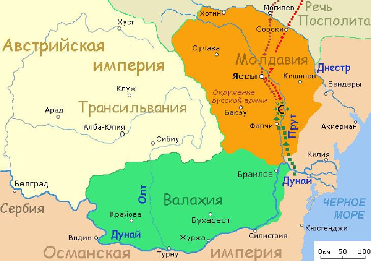 Карта Прутского похода 1711 года