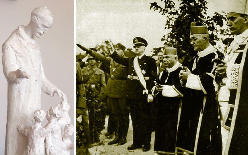 Лево: памятник Степинацу в Хорватии. Право: Степинац (первый справа) с усташами