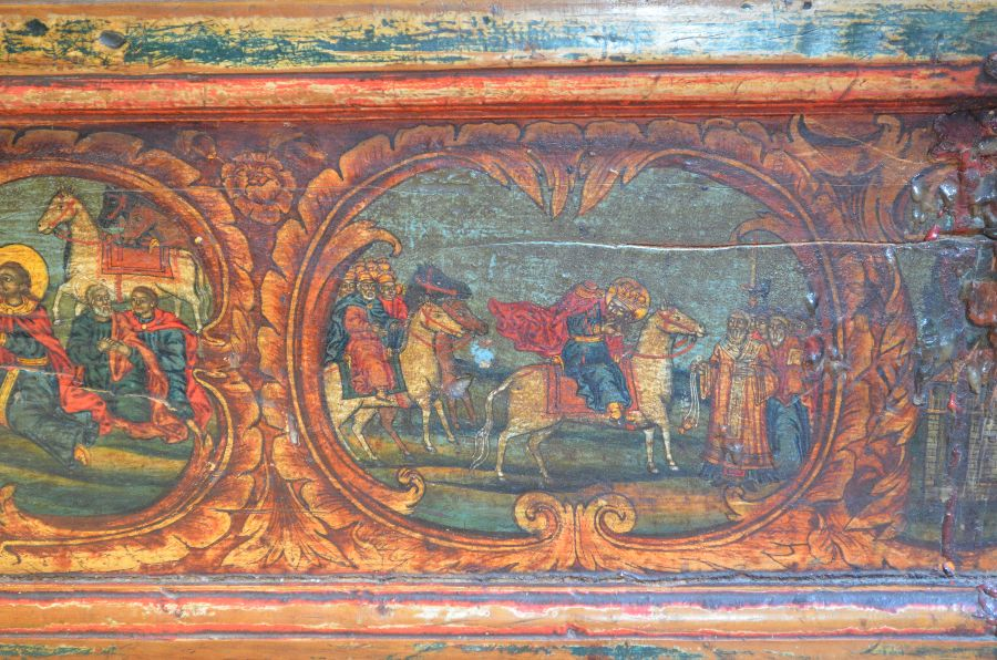 Митрополит и народ встречают обезглавленного святого Йована Владимира у Эльбасана (сцена на киоте с его мощами)
