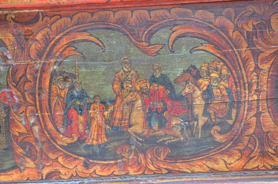 Конь опускает на землю обезглавленного святого Йована Владимира (сцена на киоте с его мощами)