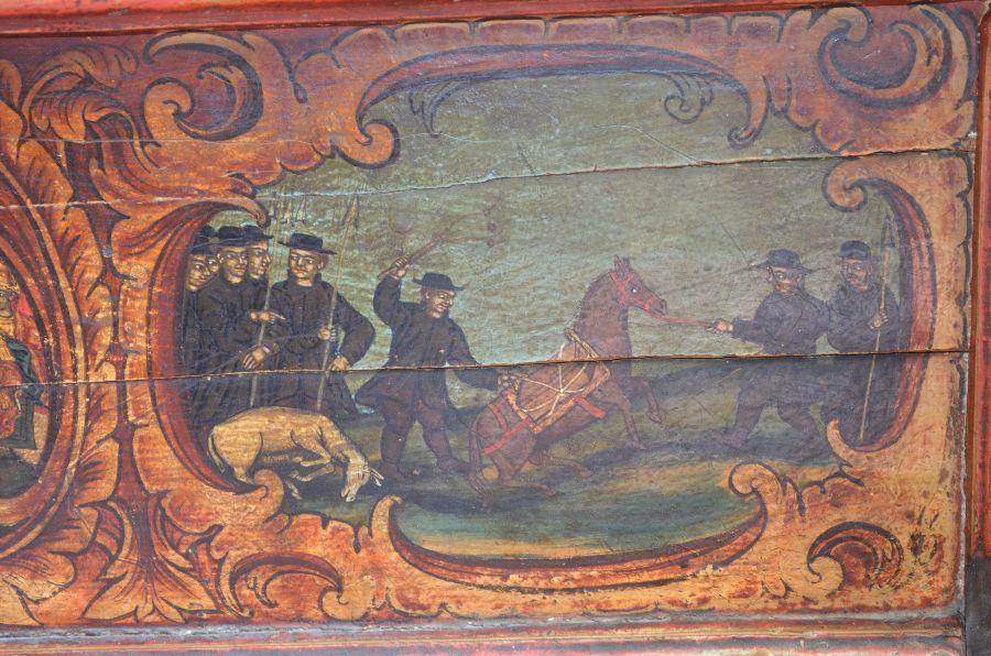 Воры крадут мощи святого Йована Владимира (сцена на киоте с его мощами)