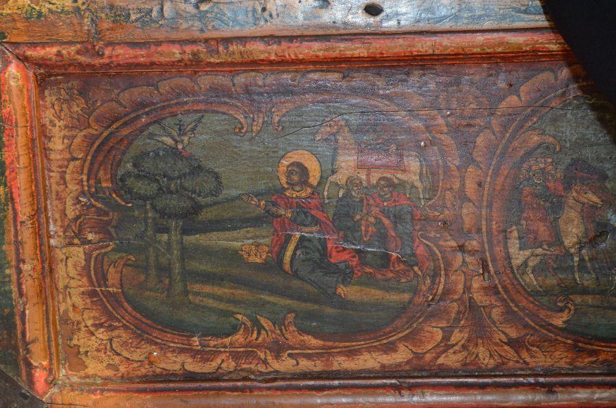 Святой Йован Владимир молится под дубом (сцена на киоте с его мощами)