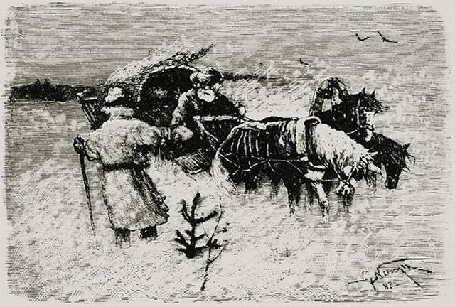 «Капитанская дочка». Глава 2. «Вожатый». Буран. Гравюра А. Янова с оригинала М. Нестерова. 1882