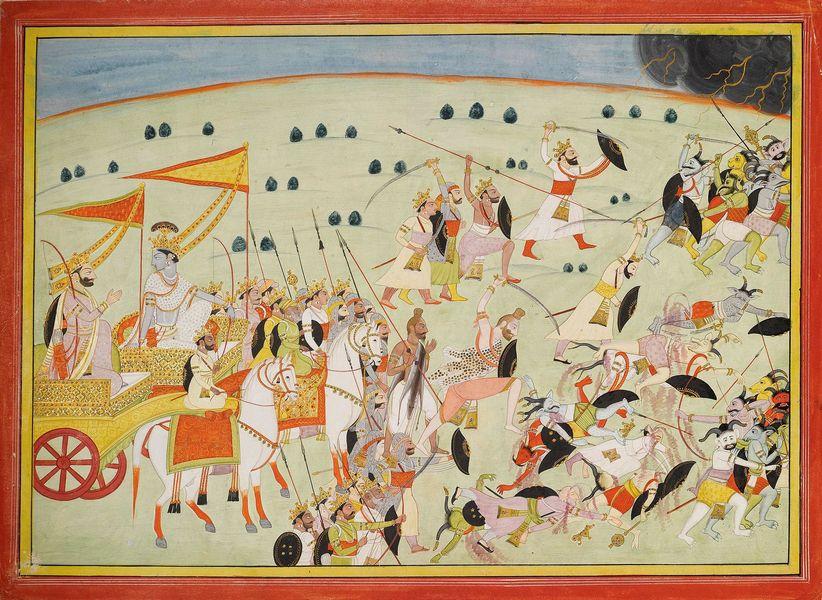 07b-_indija-_bab-_mahabharata_-_5-_krishna_and_the_pandava_princes_battle_demons_vodene_bojei_zlato_na_papiru_oko_1820_kangra_indija