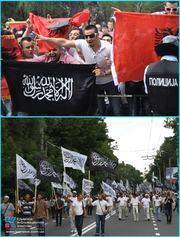 Джихадистские идеи тоже популярны у албанских (вверху) и крымско-татарских (внизу) националистов