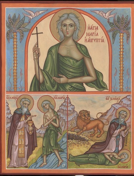 Икона святой преподобной Марии Египетской с житийными сценами