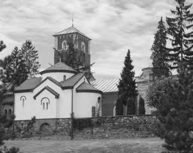 Црква Св. Саве у порти манастира Жича, поглед са друма