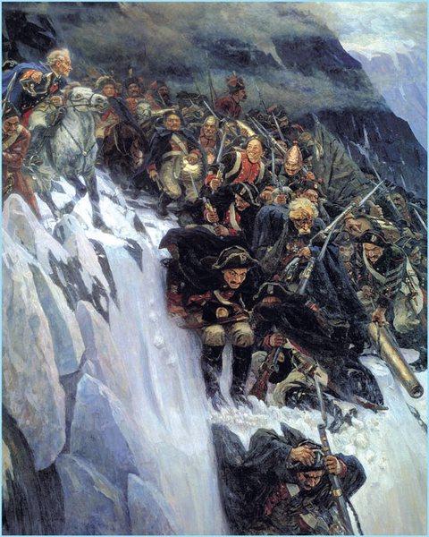 Генералисимус Суворов прелази Алпе не сањајући да ће добити наредбу да обустави сваку војну акцију против Француске