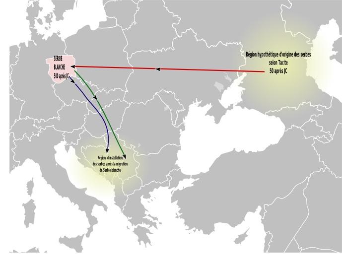 Приказ хипотетичке миграције Срба са Волге у Полабље, а касније на Балкан.
