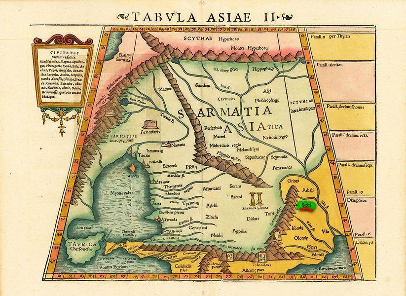 Племе Sirbi поред ушћа реке Волге, на снимку Птолемејеве карте, прегледане и штампане од Себастијана Минстера 1552. године.