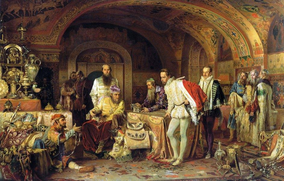 """Александар Литовченко: """"Иван Грозни показује богатство енглеском посланику Хорсију"""", 153х236 цм, уље на платну, 1875."""