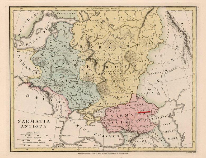 Племе Serbi у Сарматији, на карти штампаној у Лондону 1801. Оригиналан назив: SARMATIA ANTIQUA