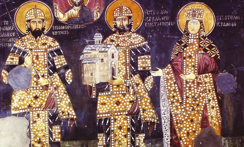 Краљ Милутин, краљ Драгутин и краљица Каталина на фресци у цркви Светог Ахилија у Ариљу, 1296. године. Одсуство краљице Ане на фресци неке историчаре је навело на мисао да је Милутин већ тада био разведен од ње.