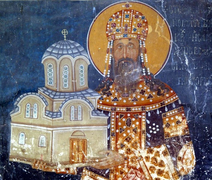 Ктиторски портрет краља Милутина у Краљевој цркви манастира Студеница, око 1314. године