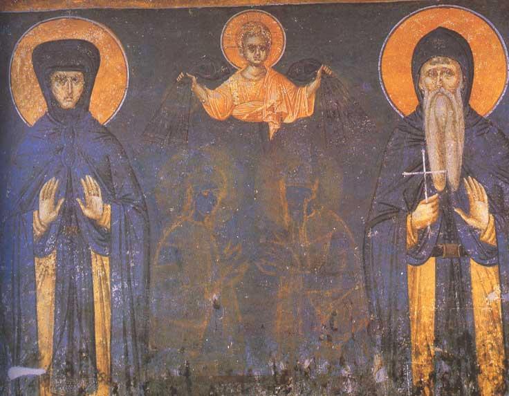 Краљица-мајка Јелена и краљ Милутин, Грачаница, 1324.