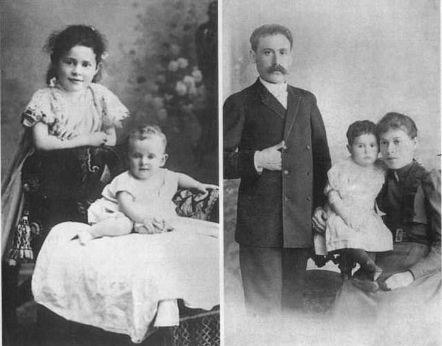 Љиља Брик са млађом сестром Елзом и родитељима
