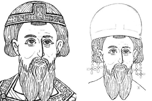 СЛИКА 2: Стефан Првовѣнчани са стематогирионом, 1219 - Стефан Првовѣнчани са накнадно досликаном стемом, 1221.