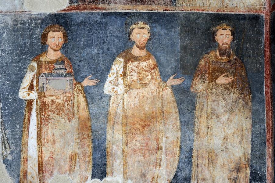 Краљеви Стефан Владислав, Стефан Радослав и Стефан Немања II Првовѣнчани, фреска из манастирске цркве у Милешеви, око 1234. године.