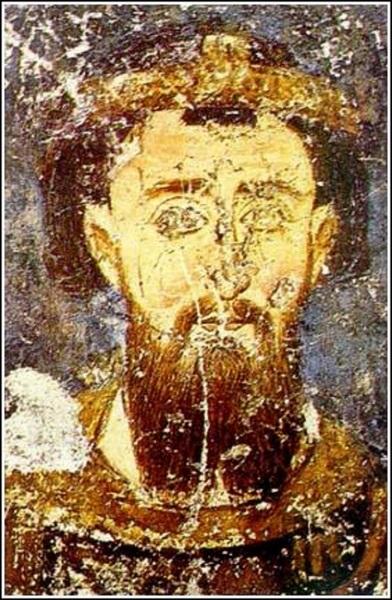 Стефан Првовѣнчани: фреска из манастирске цркве у Милешеви, око 1234. године.