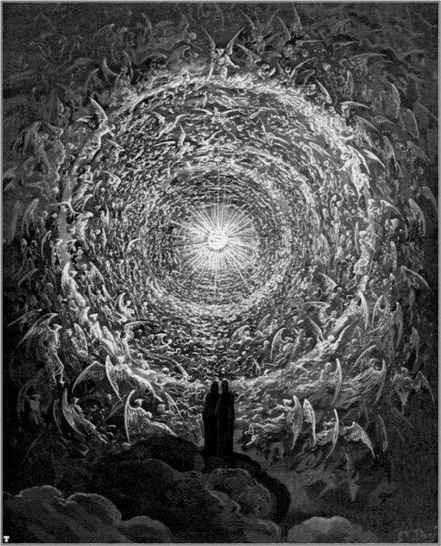 """РАЈСКА РУЖА: """"...у облику рајске руже и њених латица // показала ми се војска света // која Христу, у његовој крви, поста вереница..."""" (Рај, XXXI, 1-3)"""
