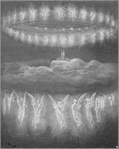 """ДУШЕ УЧЕНИХ ЉУДИ: """"...тако се око нас двоструки венац вио // оних ружа у одори од латица вечних // и спољни се са унутрашњим слио."""" (Рај, XII, 19-21)"""