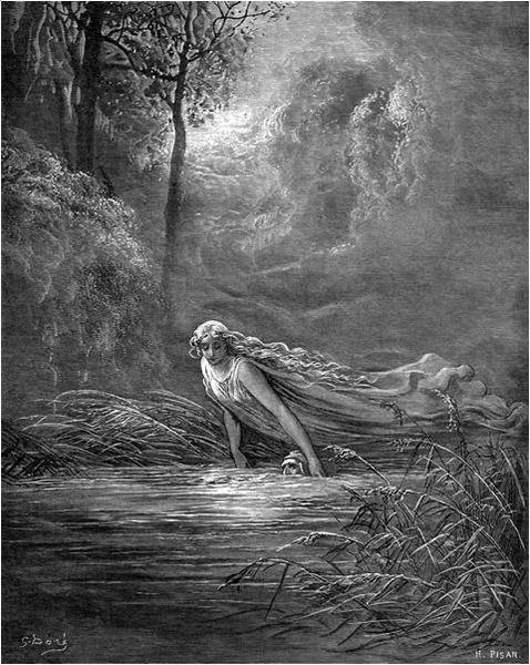 """МАТИЛДА ПОТАПА ДАНТЕА У ЛЕТУ: """"Лепа жена рашири руке своје, па у ходу // обухвати ми главу и тако ју је потопила // да сам морао да гутам и воду."""" (Чистилиште, XXXI, 100-102)"""