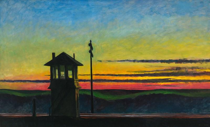 Едвард Хопер (1882-1967): ЗАЛАЗАК НА ЖЕЛѢЗНИЧКОЈ ПРУЗИ, уље на платну, 1929.