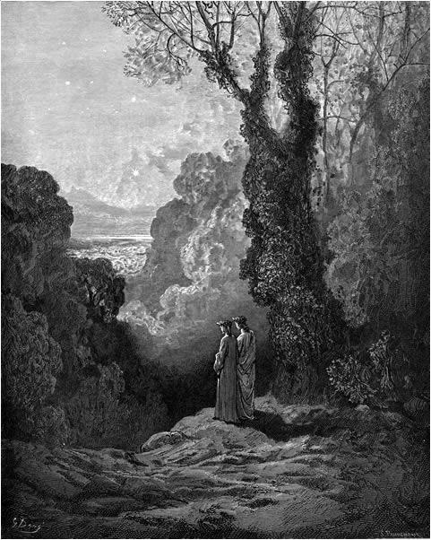 """ПѢСНИЦИ ПОСМАТРАЈУ ЛѢПОТУ ЗВѢЗДЕ ДАНИЦЕ: """"Лепа звезда која у сваког љубав улити мора, // цели исток је обасјала ведрином // засењујући сазвежђе Рибе које је прати до зора."""" (Чистилиште, I, 19-21)."""