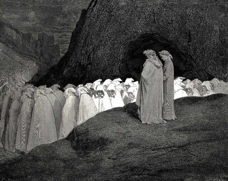 """ЛИЦЕМѢРИ: """"Носили су плаштеве са кукуљицама // навученим преко очију, тако да су личили // на редовнике из Клинија са њиховим капуљачама."""" (Пакао, XXIII, 61-63)"""