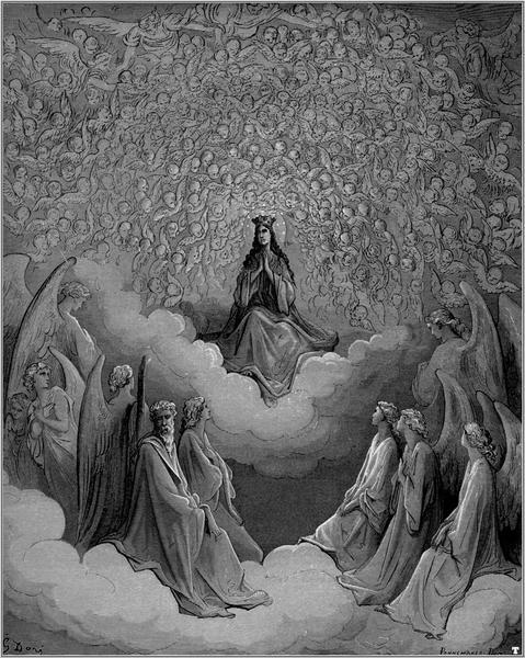 """ЦАРИЦА НЕБЕСКА: """"...до најдаљих кругова мораш гледати, // све док не видиш како седи краљица најмилија, // којој је ово краљевство одано и побожно је прати."""" (XXXI, 115-117)"""