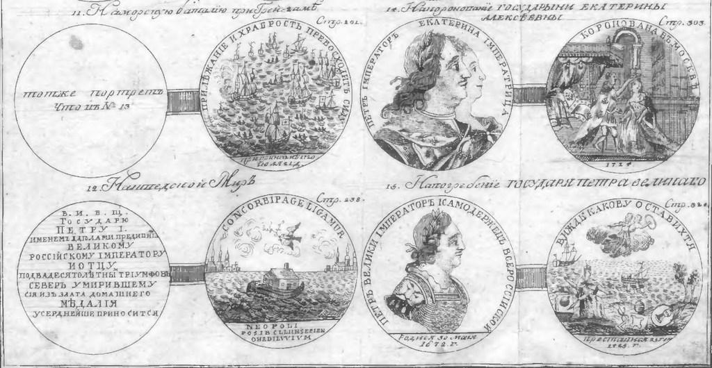 Илустрације неких од медаља Петра Великог са послѣдњих страница II тома Орфелинове књиге