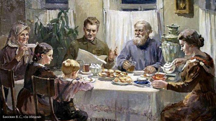 Василиј Бајускин (1898-1952): ЗА ОБѢДОМ, 1950.