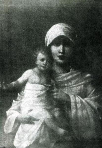 """Слика Журављова """"Утјовска Мадона"""" до 1987. године је чувана код житељке села Утјовка Александре Михајловне Подусове, али је затѣм нестала и сада се не зна гдѣ се налази"""