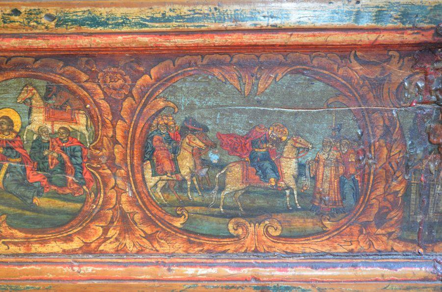Митрополит и народ дочекују обезглављеног светог Јована Владимира код Елбасана (сцена са кивота са његовим моштима)