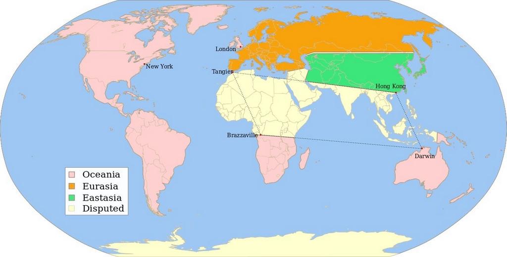"""Овако изгледа карта свѣта у Орвеловој """"1984"""". За Сѣверну Африку, Срѣдњи исток и Југоисточну Азију се води непрестан рат - барем тако тврди Министарство Мира. А ко с кѣм ратује?"""