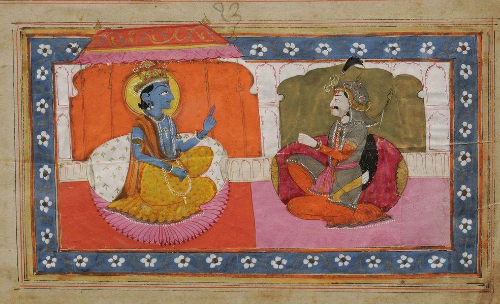 07b-_indija-_bab-_mahabharata_-_4-_sri_krishna_preaching_gita_upadesh_to_arjun_nepoznati_autor_kasmirska_skola_prirodni_pigment_na_papiru_1875-1900