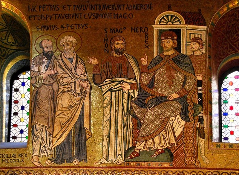 Апостоли Петар и Павле обличавају Волха Симона прѣд Нероном: мозаик из Капеле Палатина у Палерму (XII вѣк)