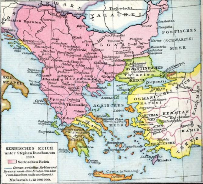 Карта Душановог царства