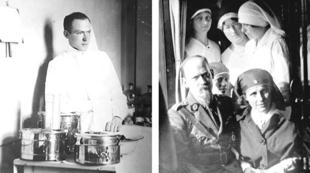 Аријус ван Тинховен (1886-1965) 1. из млађих дана; 2. са супругом – болничарком Мартом де Хроте