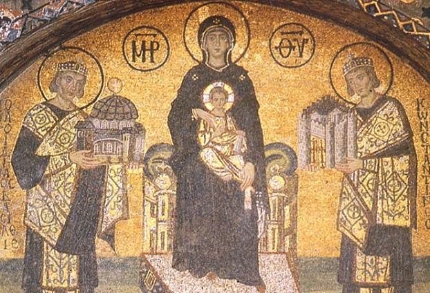 Аја Софија - Богородица између царева Јустинијана и Константина