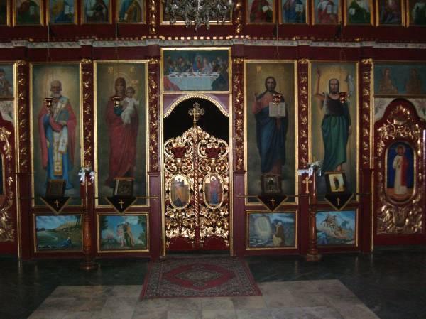 Четири престоне иконе на иконостасу Храма преноса моштију Светог оца Николаја, рад Е. Лаптева