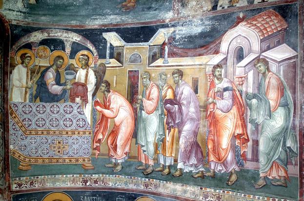 ПРИЧЕШЋЕ АПОСТОЛА, фреска  (Краљева црква у Студеници)